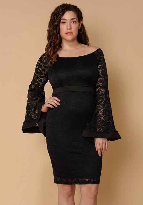 Asoph Plus Size Flared Lace Sleeve Dress