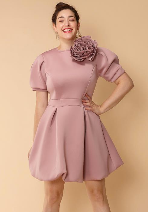 Asoph Plus Size Flower Brooch Flared Mini Dress