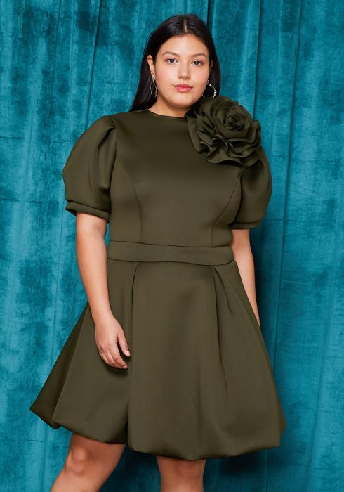 Asoph Plus Size Flower Brooch Flared Mini Dress