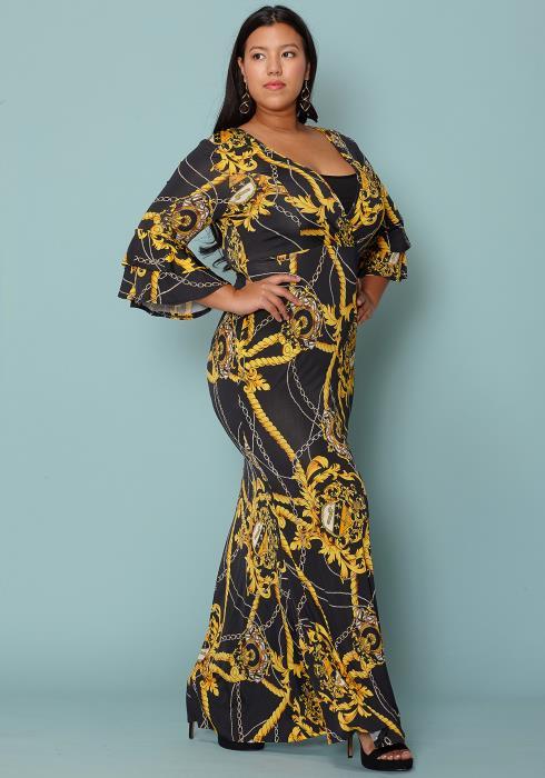 Asoph Plus Size Black Gold Printed Emipire Maxi Dress 13d47806a
