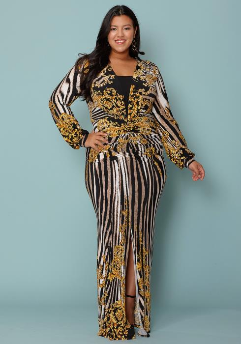 ba2ee2ae508 Asoph Plus Size Zebra Print Slit Hem Maxi Dress
