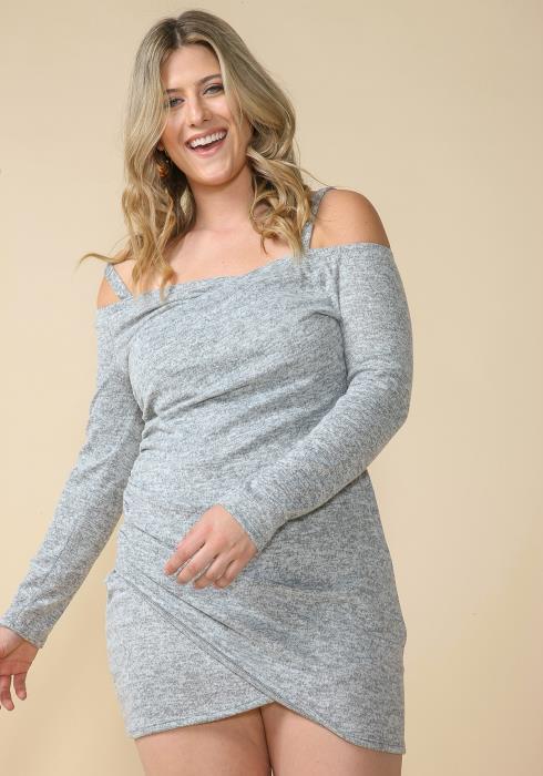 Asoph Plus Size Off Shoulder Wrap Mini Party Dress