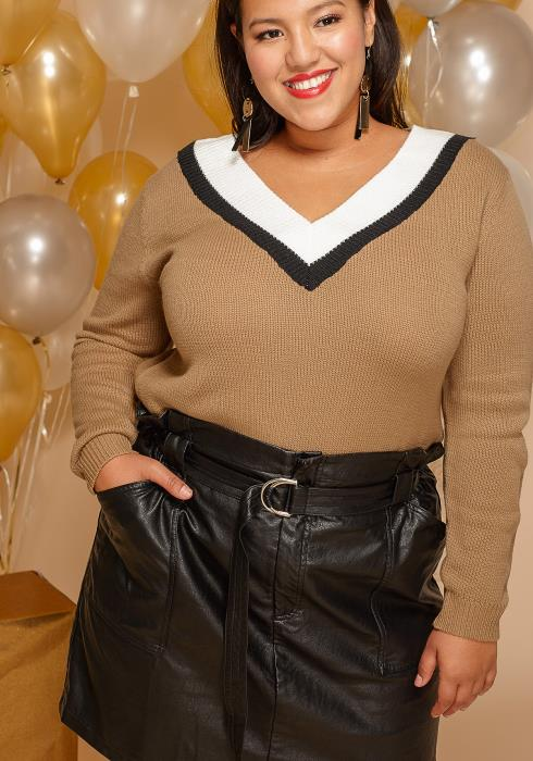Asoph Plus Size Faux Leather Belted Mini Skirt