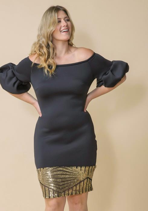 Asoph Plus Size Off Shoulder Puff Sleeve Dress