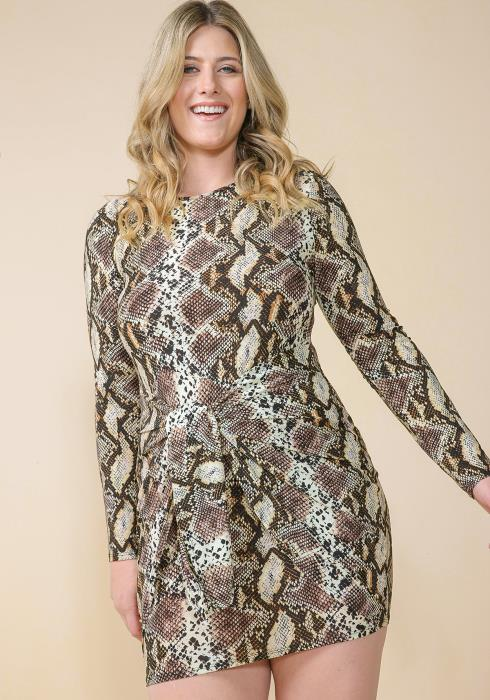 Asoph Plus Size Snake Print Tie Front Club Dress