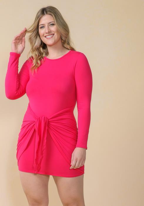 Asoph Plus Size Wrap Skirt Crewneck Bodycon Dress
