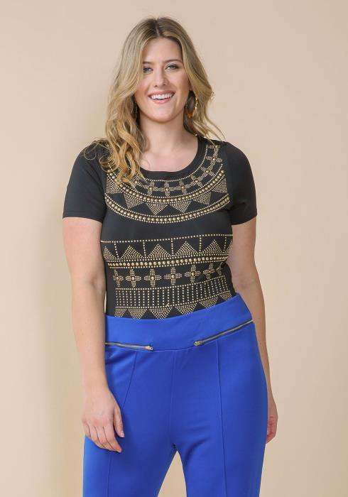 Asoph Plus Size Studded Short Sleeve Bodysuit