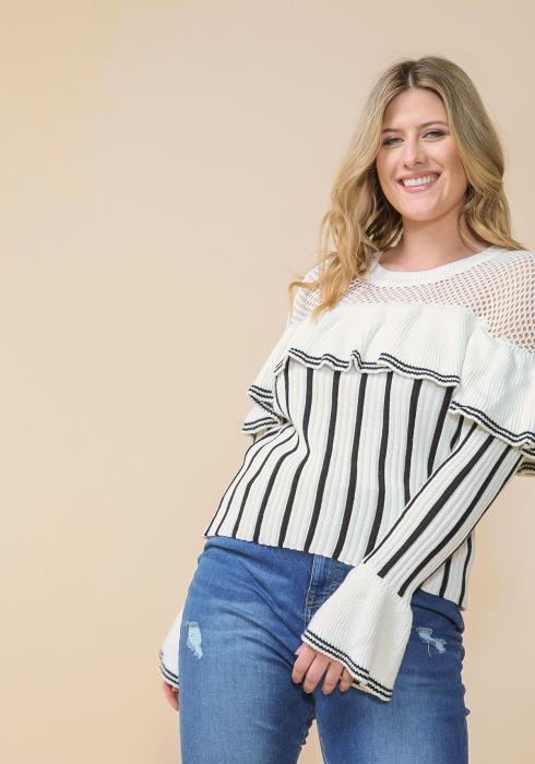 Asoph Plus Size Mesh Ruffle Striped Sweater