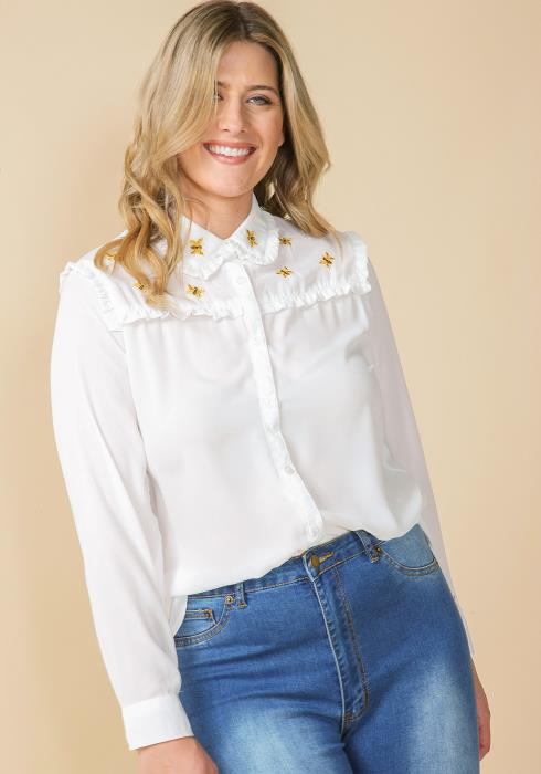 Asoph Plus Size Button Up Bee Embroidered Blouse