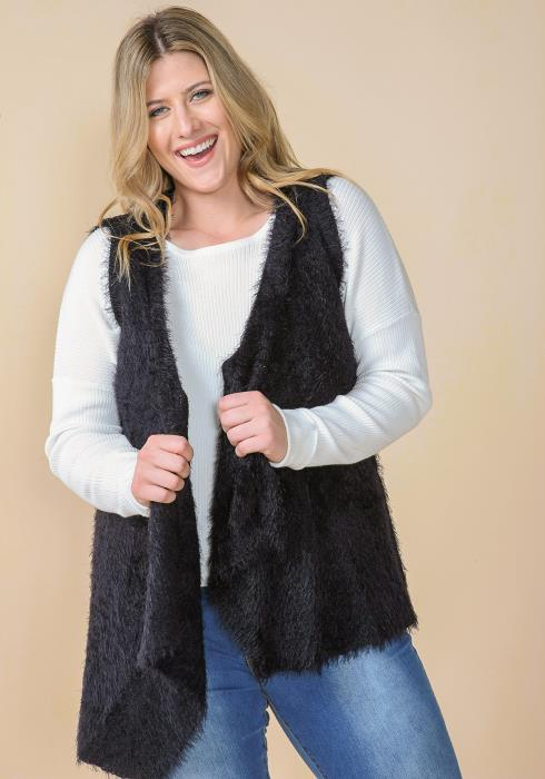 Asoph Plus Size Soft Fur Drape Collar Vest Cardigan