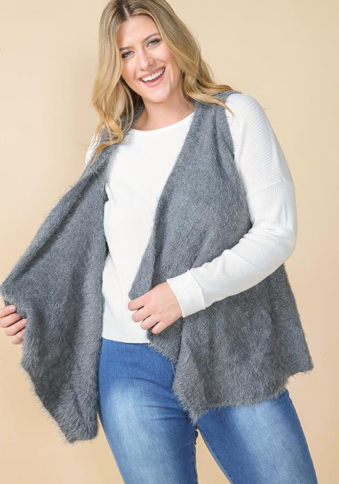Asoph Plus Size Soft Fur Drape Collar Vest Cardigan