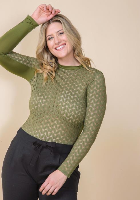 Asoph Plus Size Sheer Crewneck Long Sleeve Bodysuit
