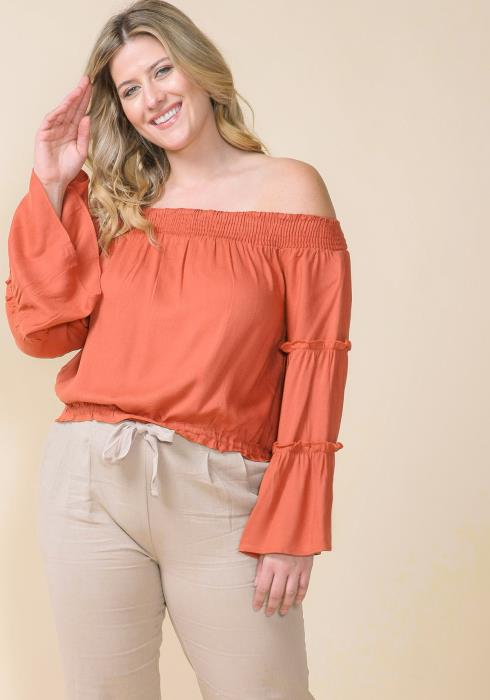 Asoph Plus Size Off Shoulder Ruffle Bell Sleeve Top