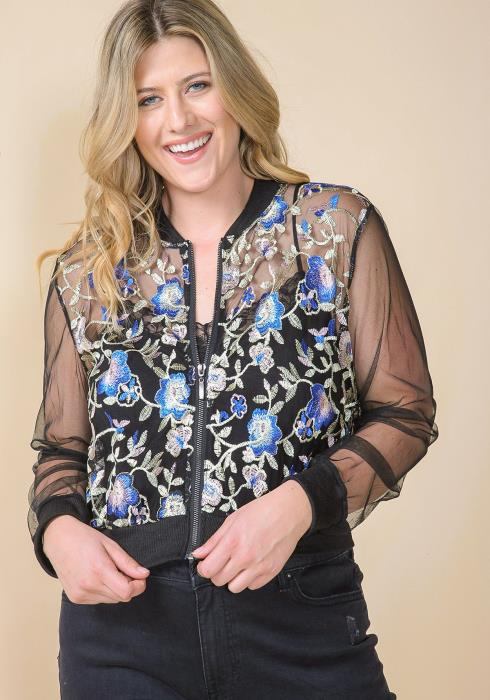 Asoph Plus Size Sheer Flower Embroidered Zip Up Jacket