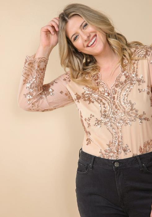 Asoph Plus Size Sequined Evening Bodysuit