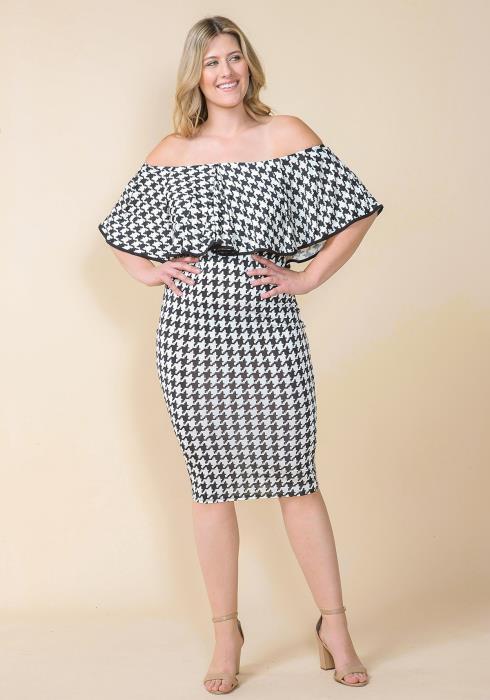 Asoph Plus Size Off Shoulder Houndstooth Ruffle Dress 62b56fbdd