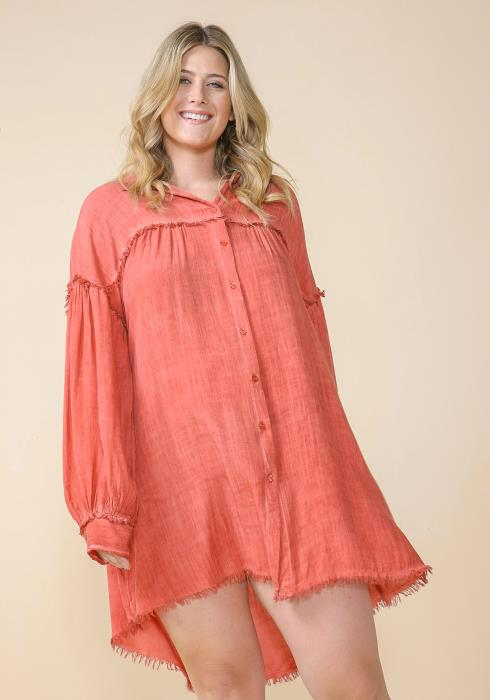 Asoph Plus Size Button Up Fringe Hem Shirt Dress