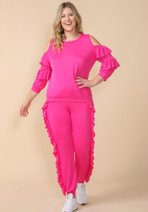 Asoph Plus Size Double Ruffle Jumpsuit Set