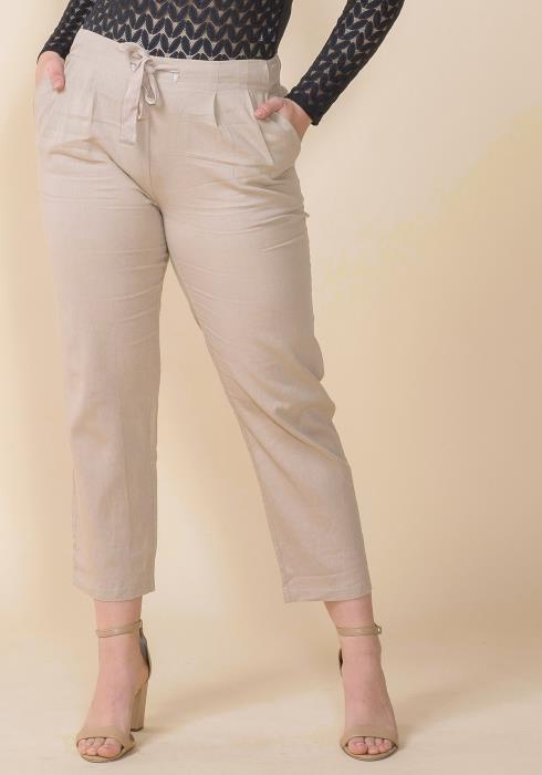 Asoph Plus Size Elasticized Tie Waist Straight Pants