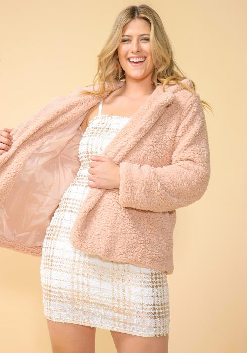 Asoph Plus Size Fluffy Faux Fur Jacket