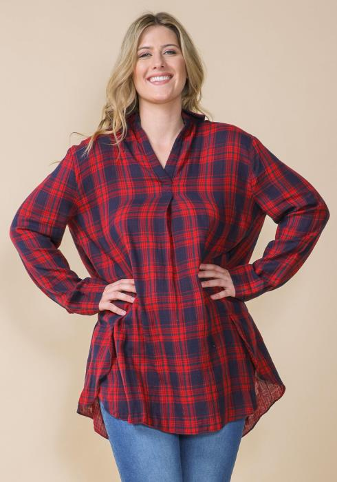 22d037810d Asoph Plus Size Plaid Oversized Shirt