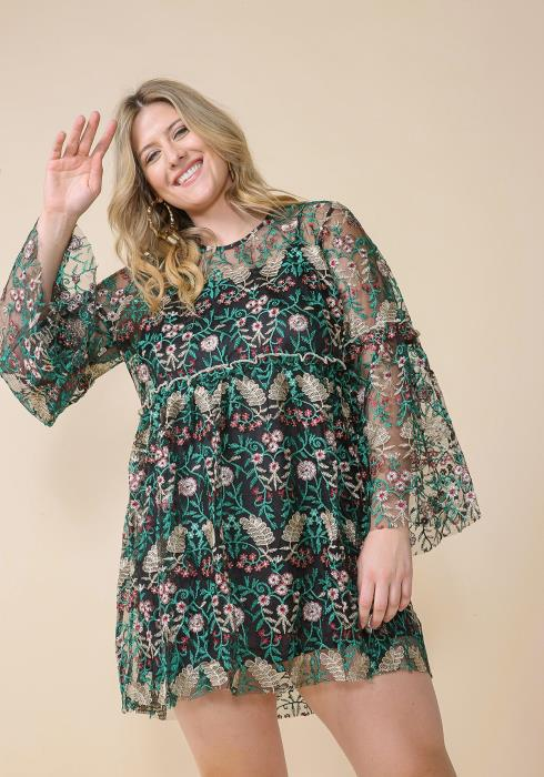 Asoph Plus Size Floral Embroidered Lace Dress