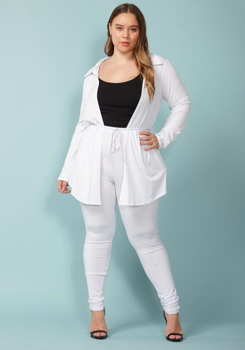 Asoph Plus Size Tie Waist Cardigan & Leggings Set