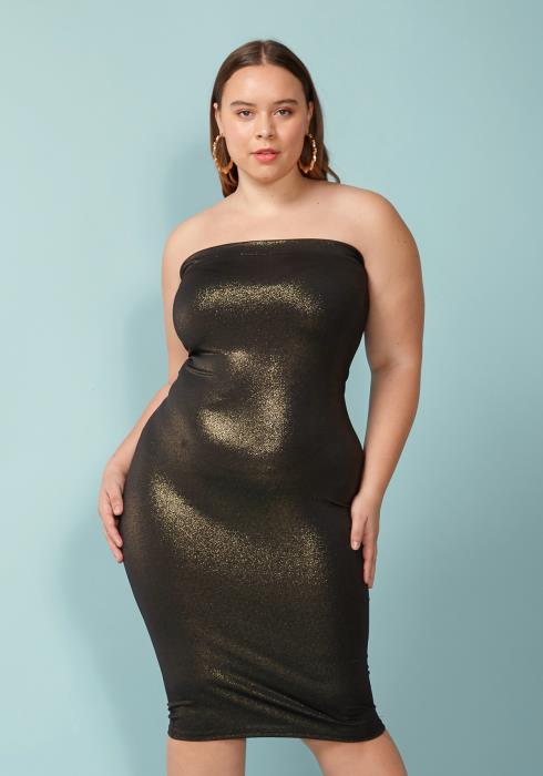 Asoph Plus Size Tube Top Bodycon Dress