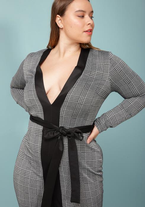 Asoph Plus Size Plaid V-Neck Slit Hem Mini Dress