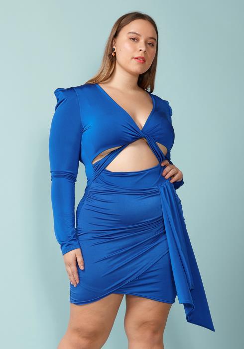 Asoph Plus Size Tie Waist Wrap Mini Dress