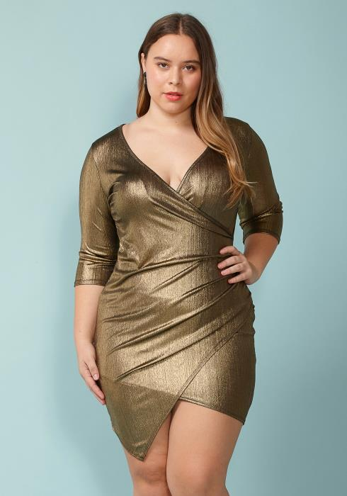 Asoph Plus Size Gold Metallic Wrap Mini Dress