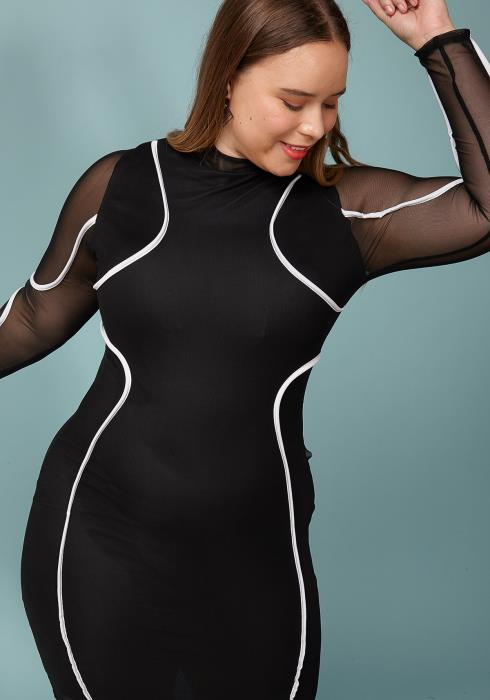 Asoph Plus Size Mesh Sleeve Black White Contrast Mini Dress