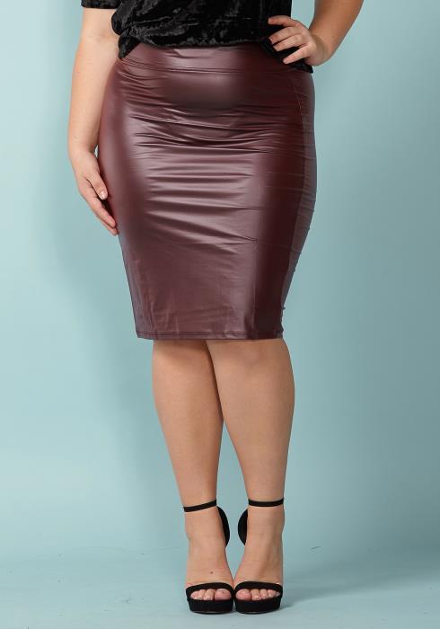 Asoph Plus Size Faux Leather Basic Pencil Skirt