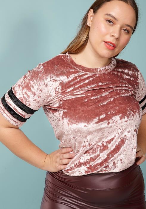 Asoph Plus Size Velvet Crewneck Short Sleeve Top