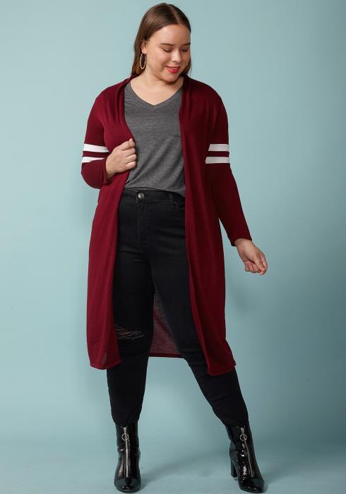 Asoph Plus Size Long Open Front Stripe Sleeve Cardigan