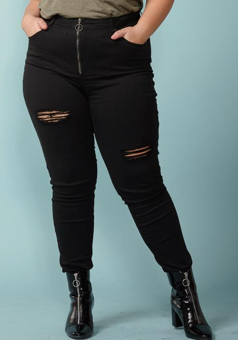 Asoph Plus Size Zip Up Ripped Skinny Jean