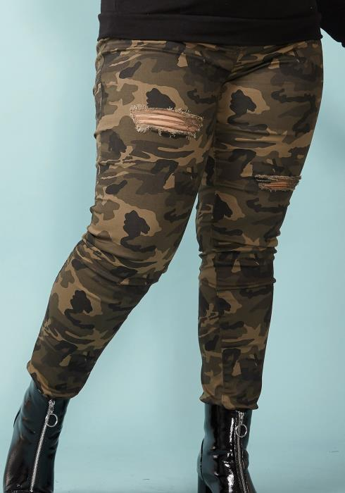 Asoph Plus Size Zip Up Ripped Skinny Jean
