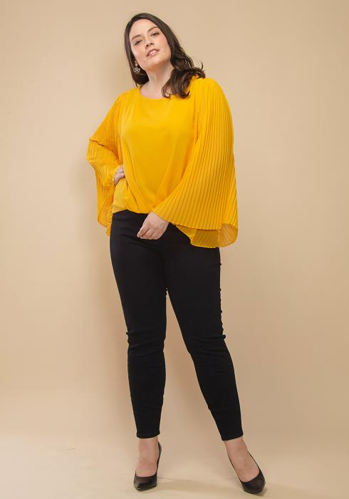 Asoph Plus Size Pleated Chiffon Bell Sleeve Top