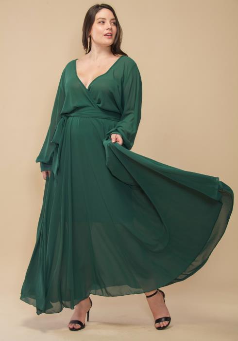 Asoph Plus Size Wrapped Tie Waist Maxi Dress