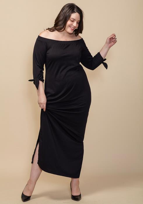 Asoph Plus Size Off Shoulder Slit Hem Dress