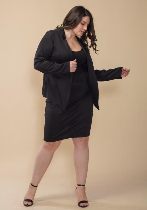 Asoph Plus Size Open Front Blazer & Pencil Skirt Set
