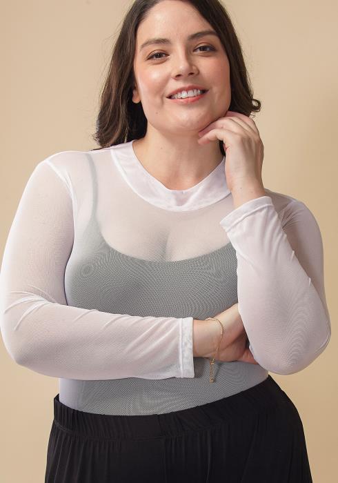 Asoph Plus Size Sheer Mock Neck Bodysuit