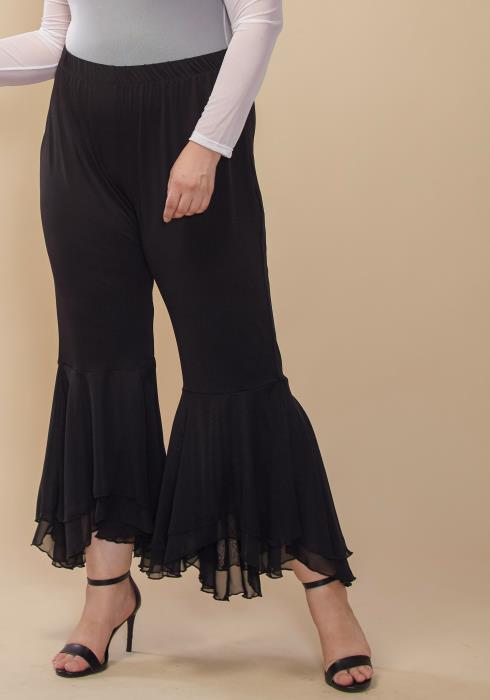 Asoph Plus Size Flared Ruffle Hem Pants