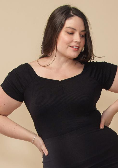 Asoph Plus Size Gathered Sleeve Ribbed Top