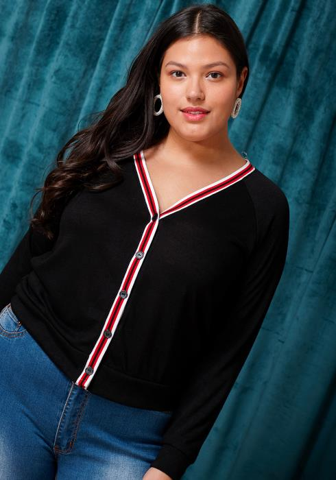 Asoph Plus Size Striped Button Up Cardigan