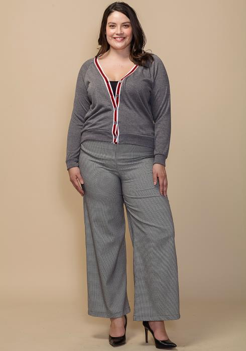 Asoph Plus Size Plaid Elastic Waist Wide Pants
