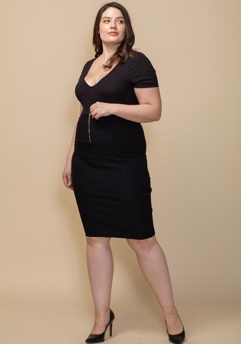 Asoph Plus Size Zipper Front Pencil Midi Skirt