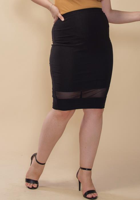 Asoph Plus Size Sheer Mesh Hem Pencil Skirt