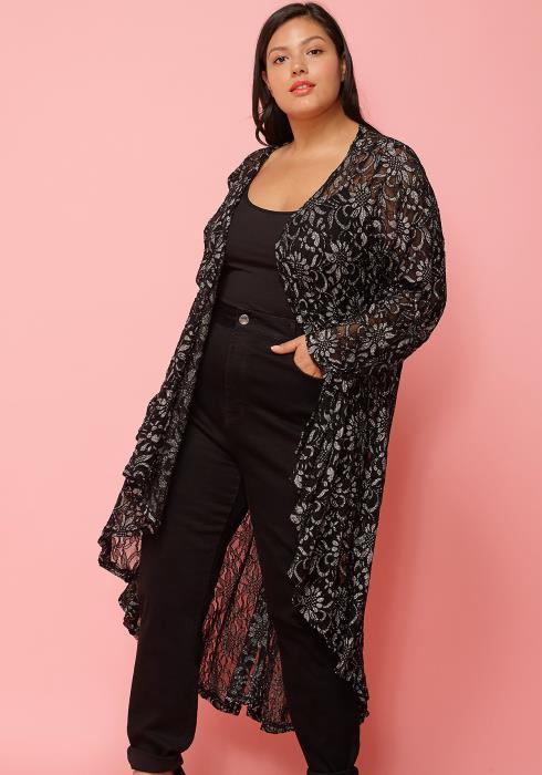 Asoph Plus Size Floral Print Sheer Long Cardigan