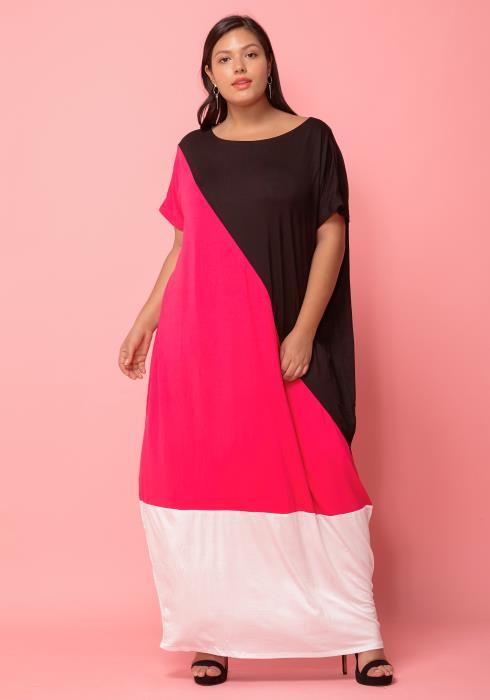Asoph Plus Size Color Blocking Maxi Dress